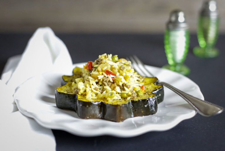 roasted acorn squash with dirty rice pilaf recipe
