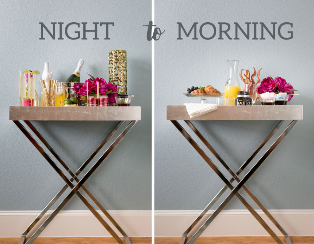 New Years Eve pajama party bar cart