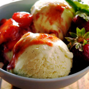 basil ice cream with balsamic strawberry sauce recipe