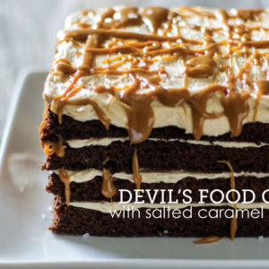 devils food with salted caramel frosting