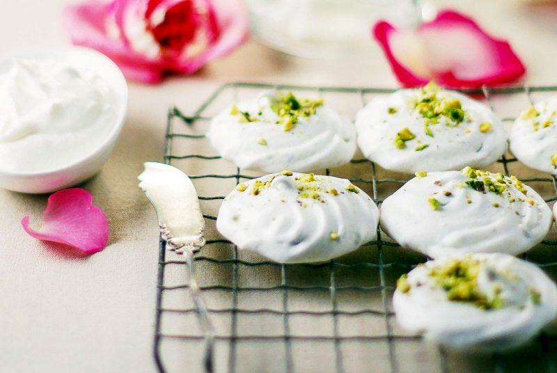 pistachio meringues with rose water cream recipe