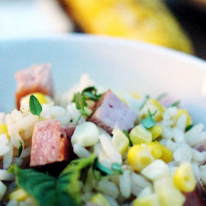 grilled ham and corn with rice recipe