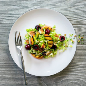 halloumi peach cherry salad recipe