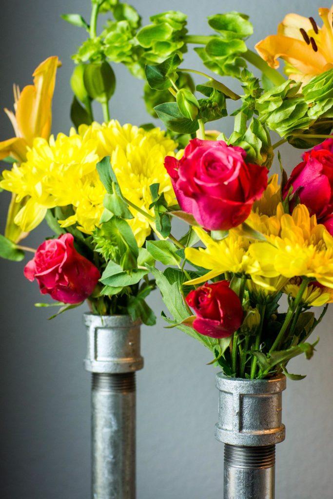 galvanized pipe vase DIY
