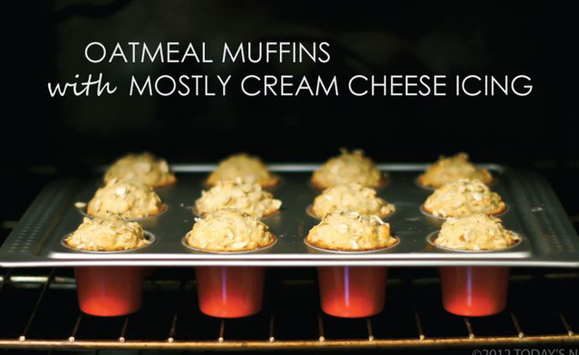 Treat of the Week:  Oatmeal Muffin with Mostly Cream Cheese Icing