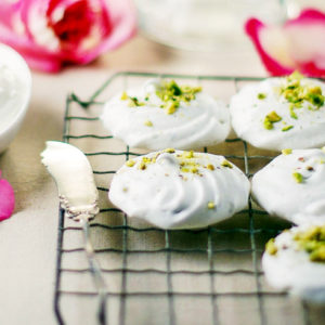 pistachio meringues with rose water cream recipe
