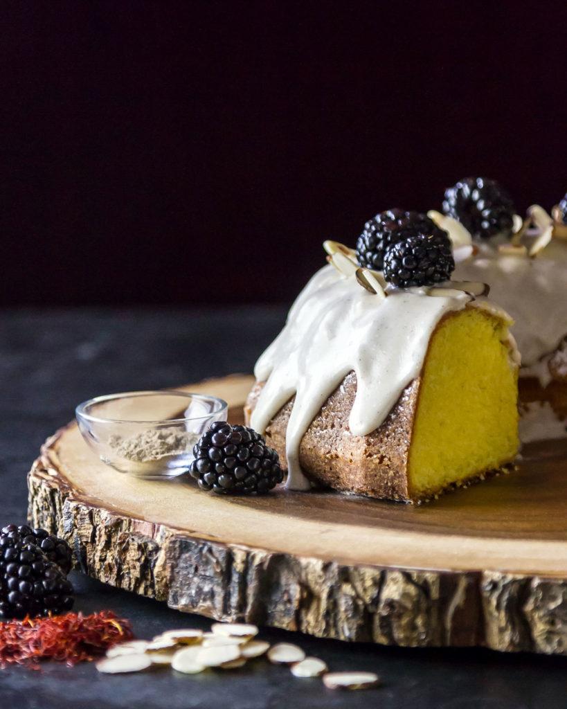 saffron bundt cake with cardamom glaze recipe