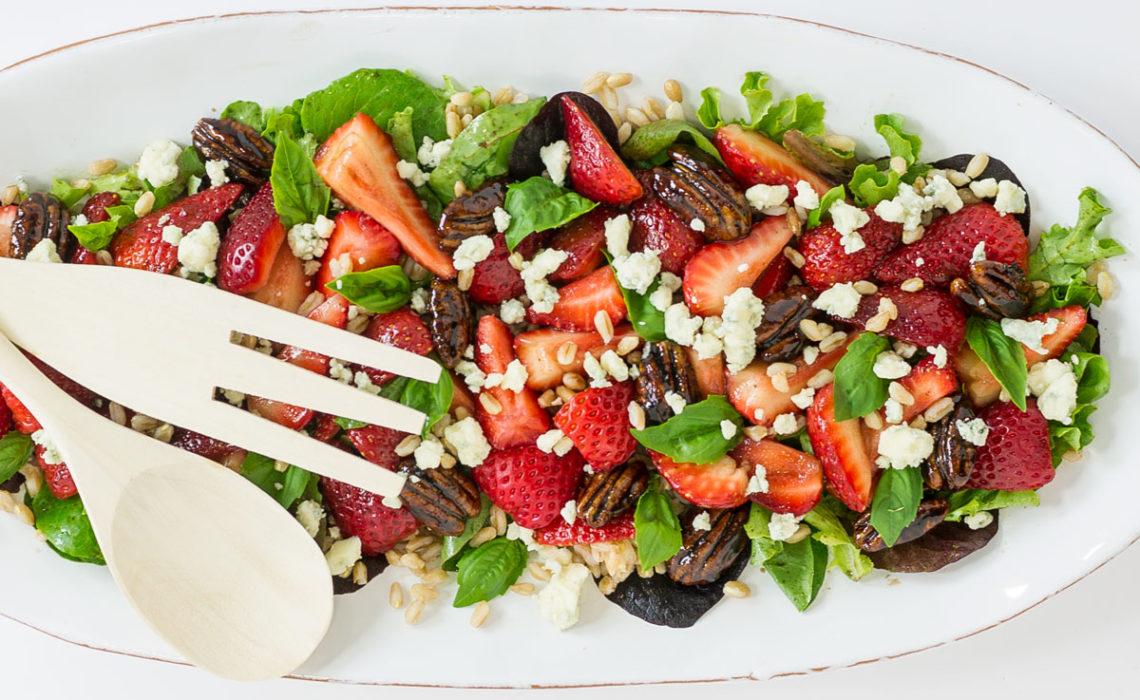 Strawberry Farro Salad with Balsamic Glazed Pecans
