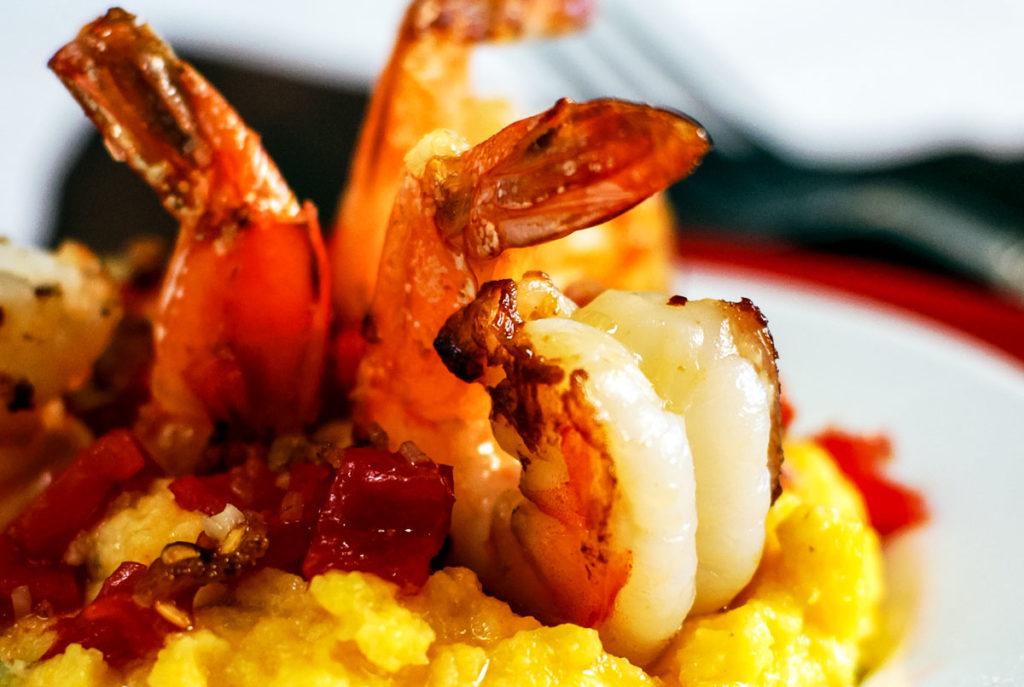 tomato bacon shrimp with cheddar polenta recipe