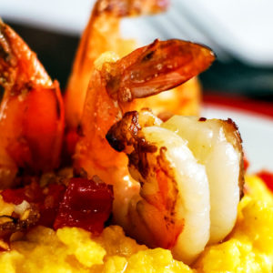 tomato bacon shrimp with cheddar polenta recipe